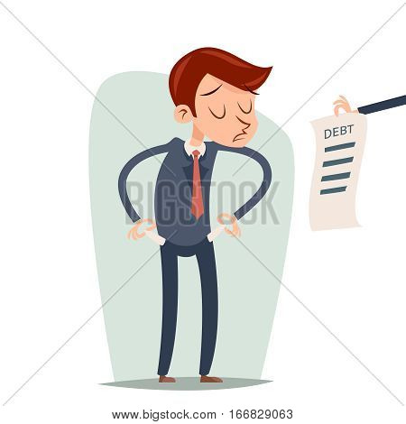 Debt Out Money Businessman Cartoon Character Looking Bill Icon Retro Cartoon Design Vector Illustration