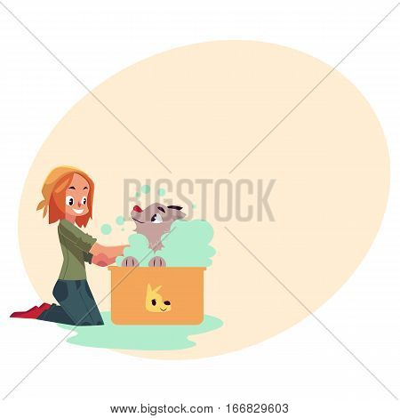 Red haired teenage girl washing, bathing her dog, puppy, cartoon vector on background with place for text. Full length portrait of girl sitting on the floor and washing her puppy in foam bath