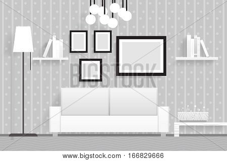 Interior Living Room Furniture Realistic Design Vector Illustration