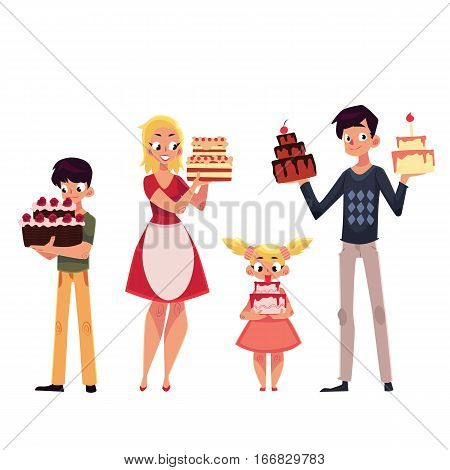 Family members, father, mother, son and daughter holding birthday cake, cartoon vector illustration isolated on white background. Full length portrait of man, woman, boy, girl holding birthday cake