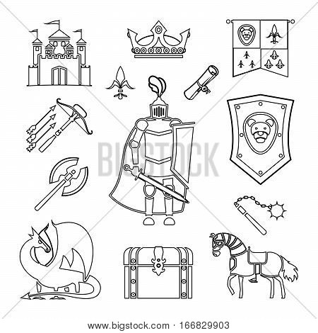 Knighthood in Middle Ages line art Icons. Medieval ancient armor and coat of arms, knight and helmet vector outline signs