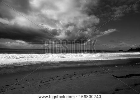 the pacific ocean. laguna beach California. black and white