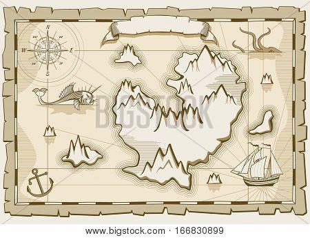 Vintage parchment vector brown map. Paper parchment with ancient map illustration