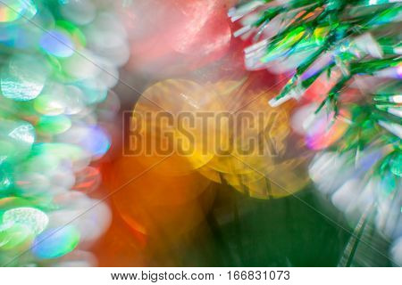 Christmas colored Abstract blur Light BackgroundChristmas-tree toys blur