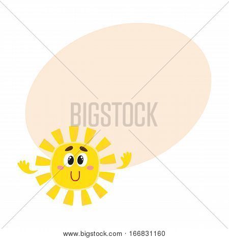 Cute and funny smiling sun with big eyes and hands, cartoon vector illustration on background with place for text. Cheerful sun character, symbol of summer season, hot weather and vacation at the sea