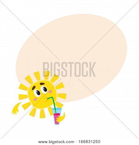 Thoughtful sun drinking cocktail through a straw, cartoon vector illustration on background with place for text. Cute and funny sun character with a soft drink, symbol of summer and vacation