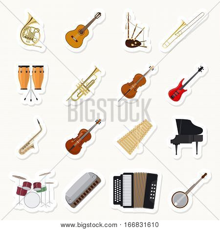 Musical instruments stickers set. Orchestra music band vector illustration