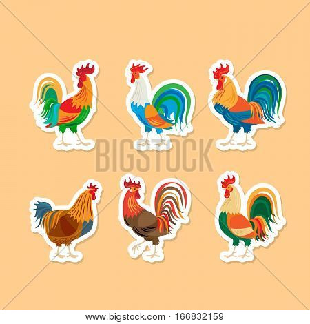 Roosters stickers. Chickens farm cockerel set. Vector illustration