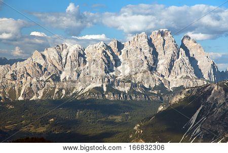 View of Cristallo gruppe near Cortina d Ampezzo Dolomiti Italy