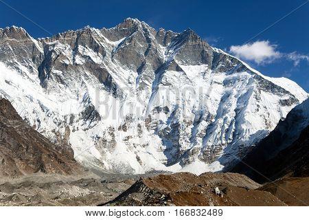 View of top of Lhotse South rock face - Way to Everest base camp three passes trek Everest area Sagarmatha national park Khumbu valley Nepal