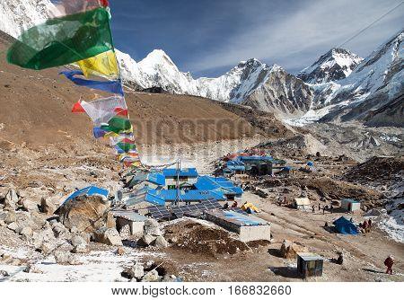 Gorak Shep village with prayer flags way to Kala Patthar and Mount Everest base camp Sagarmatha national park Khumbu valley Nepal