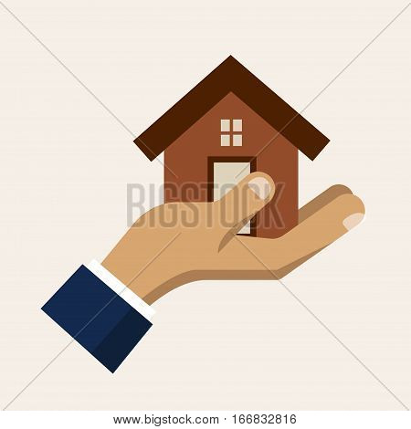 Hand holding a house, insurance service vector icon. Insurance and safety for home illustration