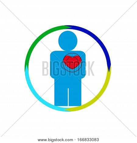 Vector illustration. The emblem logo. The human heart at risk. Healthy lifestyle. human kontur.Chetyre section of a circle. Different colors.