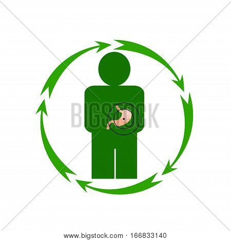Vector illustration. The emblem logo. The human stomach is in danger. Healthy lifestyle. Human. Five arrows in a circle. Different colors.