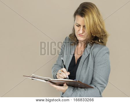 Caucasian Business Woman Notebook