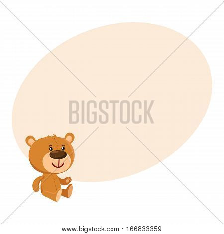 Cute traditional, retro style teddy bear character sitting, cartoon vector illustration on background with place for text. Teddy bear character, favorite toy from childhood