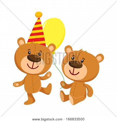 Cute retro style teddy bear characters, standing in birthday cap and sitting with balloon, cartoon vector illustration isolated on white background. Teddy bear character, birthday party