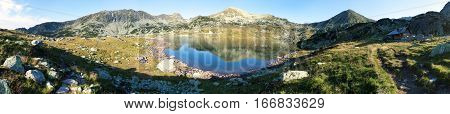 Morning panoramic mountain view from romanian Carpathian mountains Bucura lake and Retezat mountains Romania