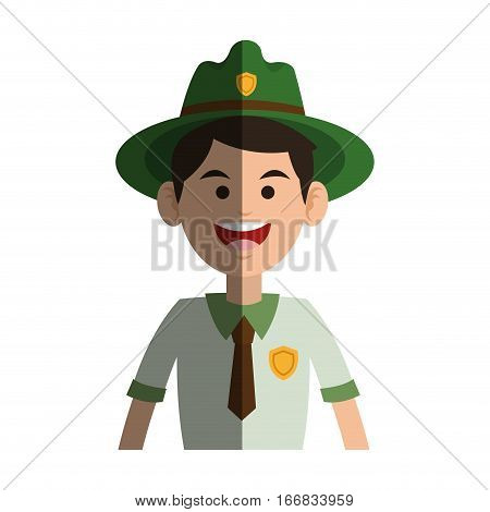 Forest ranger man icon over white background. colorful design. vector illustration