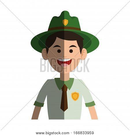 Forest ranger man icon over white background. colorful design. vector illustration