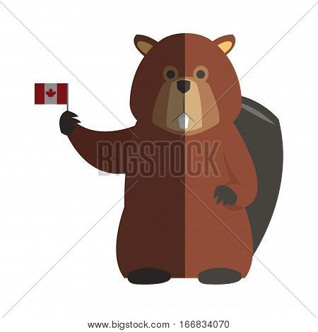 beaver cartoon with flag of canada  icon over white background. colorful design. vector illustration
