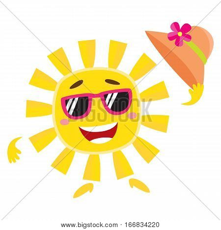 Summer sun character in sunglasses holding straw hat and smiling happily, cartoon vector illustration isolated on white background. Smiling sun funny character, mascot, symbol of summer vacation