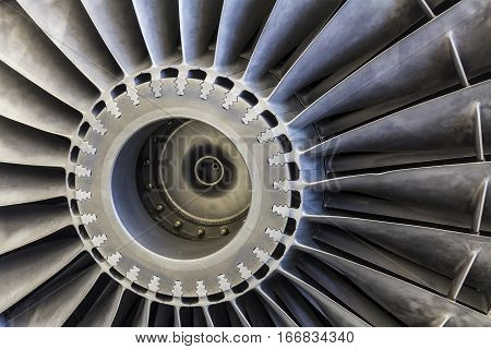 Indianapolis - Circa January 2017: Exterior of a Rolls-Royce F402 Pegasus Jet Engine used in the VSTOL AV-8B Harrier II b