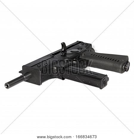 SMG PP-91 Kedr submachine gun. Special forces weapon on a white background