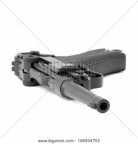 Black handgun Walther on a white background