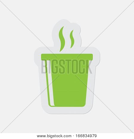 simple green icon with light gray contour and shadow - hot fastfood drink and smoke on a white background