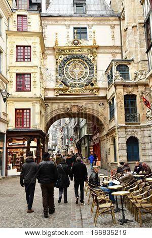 Rouen France - november 26 2016 : Gros Horloge street in the historical city center in winter