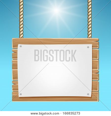 Hanging wooden blank sign board blue sky. Wood board with blank paper sheet illustration