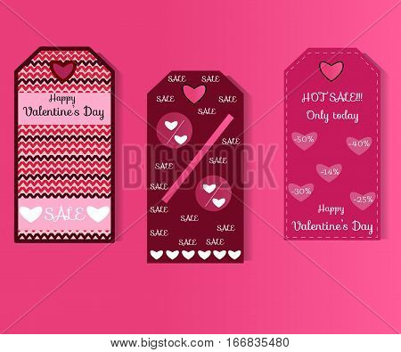Set of Valentine's day tag, card, label design. Vector illustration.