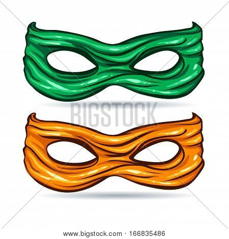 vector illustration green and yellow mask for face character super hero in the style of comics caricature without background