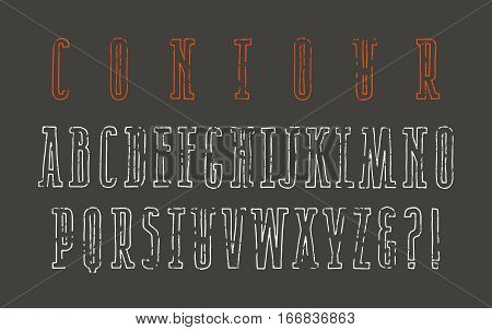 Contour narrow serif font in the style of hand-drawn graphics. Isolated on black background