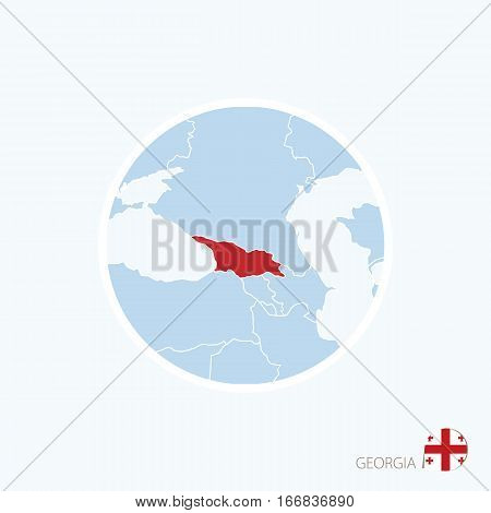 Map Icon Of Georgia. Blue Map Of Europe With Highlighted Georgia In Red Color.