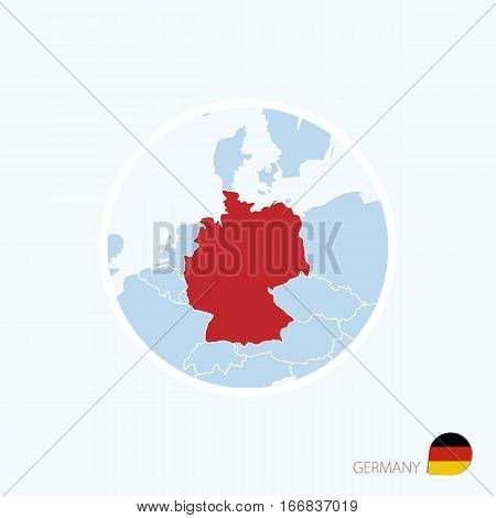 Map Icon Of Germany. Blue Map Of Europe With Highlighted Germany In Red Color.