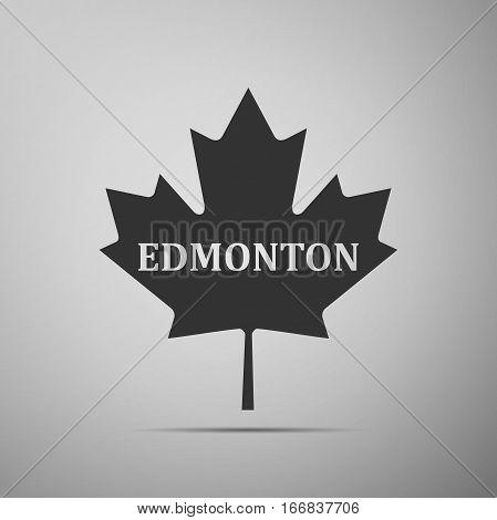 Canadian maple leaf with city name Edmonton flat icon on grey background. Vector Illustration