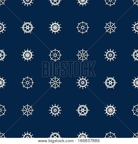Ship helm seamless pattern. Vector yacht boat navigation blue texture. Background with silhouette of steering wheel illustration