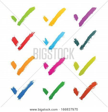 Brushstroke check mark sign isolated on white background. Green yellow violet purple red magenta blue pink orange brown colors. This vector illustration clip-art element for design in 8 eps