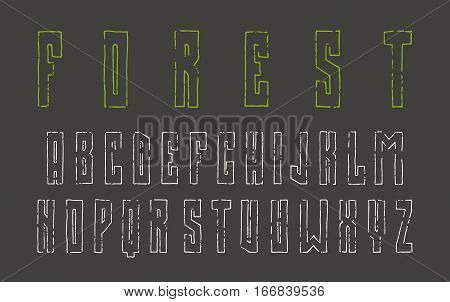 Narrow sanserif contour font in the style of hand-drawn graphics. Print on black background
