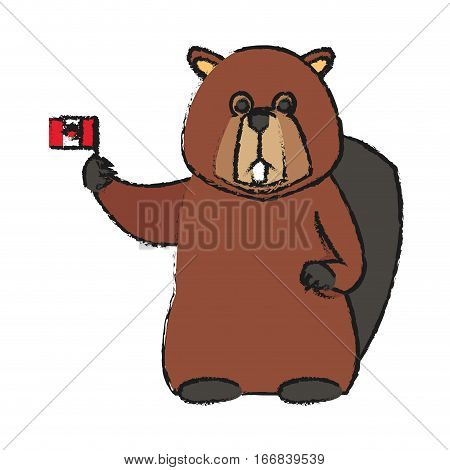 beaver cartoon with flag of canada over white background. colorful design. vector illustration