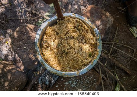 Big Bowl Of Pilau Cooked Outdoor