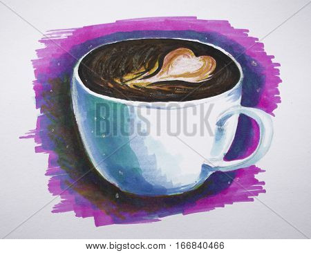 Coffee cup drawing in fantasy style. Colorful marker white cup of coffee on pink background hand-drawn illustration. Black coffee cup with heart on topping. Morning coffee in white porcelain cup