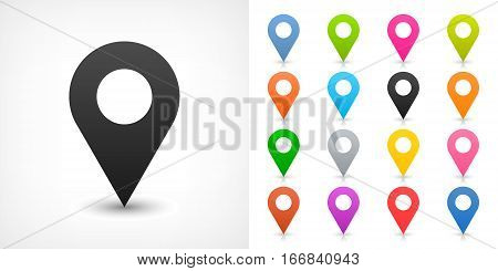 Map pin sign location icon with drop shadow in flat simple style. Black blue cobalt yellow green red magenta orange pink violet purple gray brown shapes on white background Vector 8 EPS