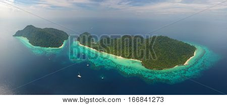 Aerial panorama view on tropical Ko Rok islands in the Andaman Sea, Thailand
