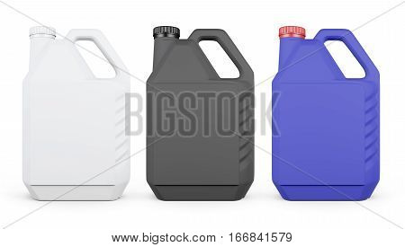 Set Of Plastic Canister Isolated On White Background. 3D Rendering