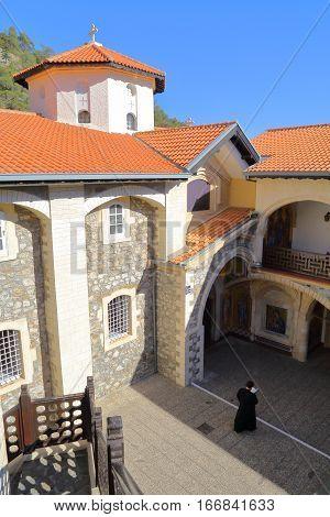 TROODOS MOUNTAINS, CYPRUS - NOVEMBER 18, 2015: Kykkos Monastery