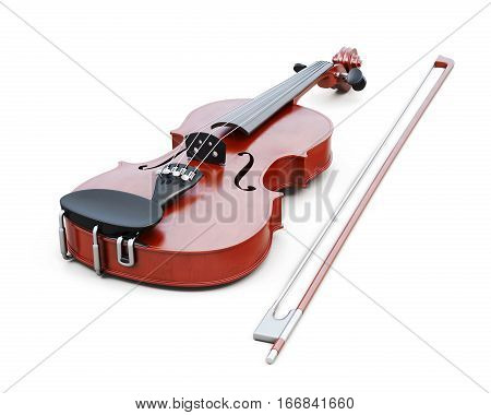 Violin Isolated On White Background. 3D Rendering