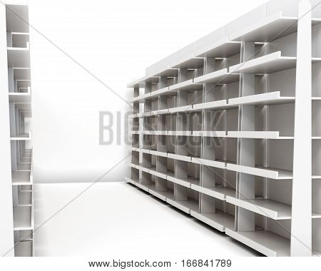 Row Of Racks With Shelves Isolated On White Background. 3D Rendering